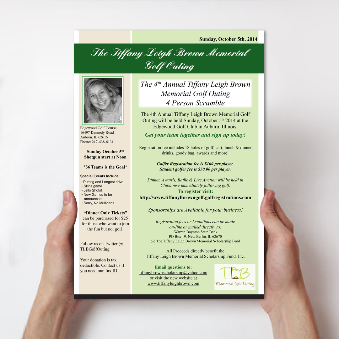 flyer design for the tiffany leigh brown memorial scholarship fund