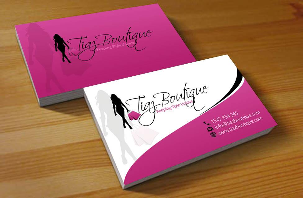 business card design for tiaz boutique by hardcore design