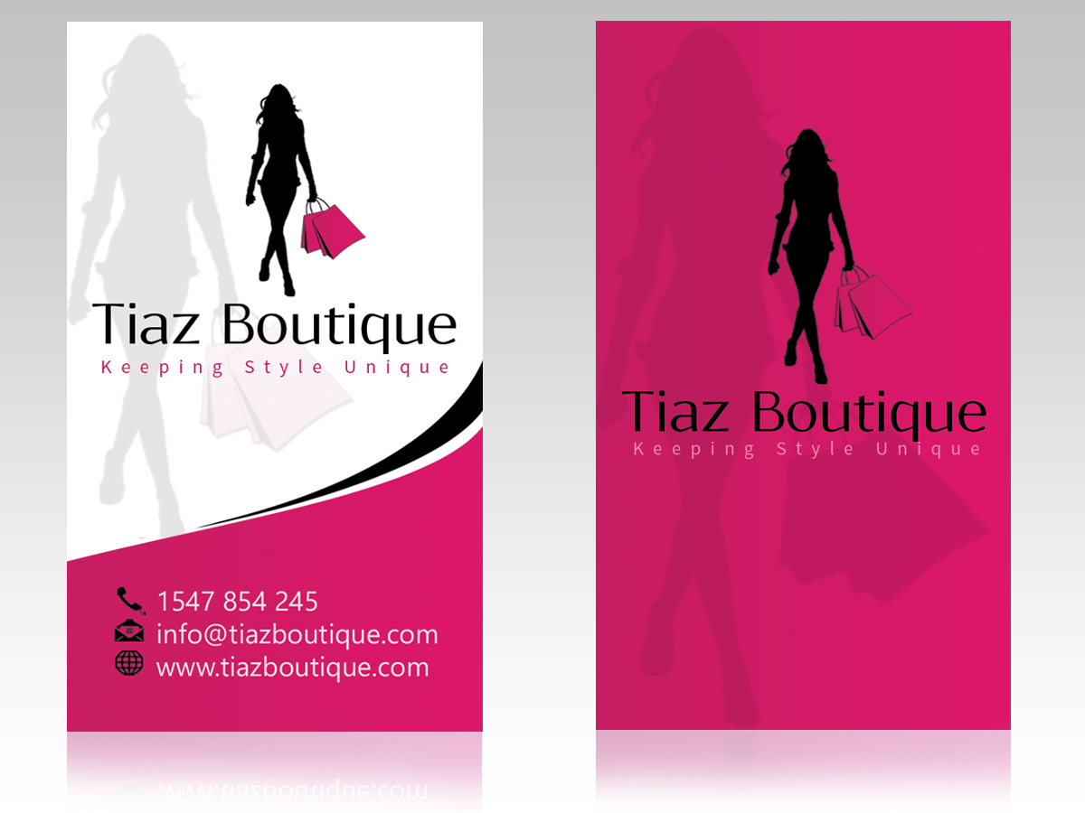Business card design for tiaz boutique by hardcore design for Business card for clothing boutique