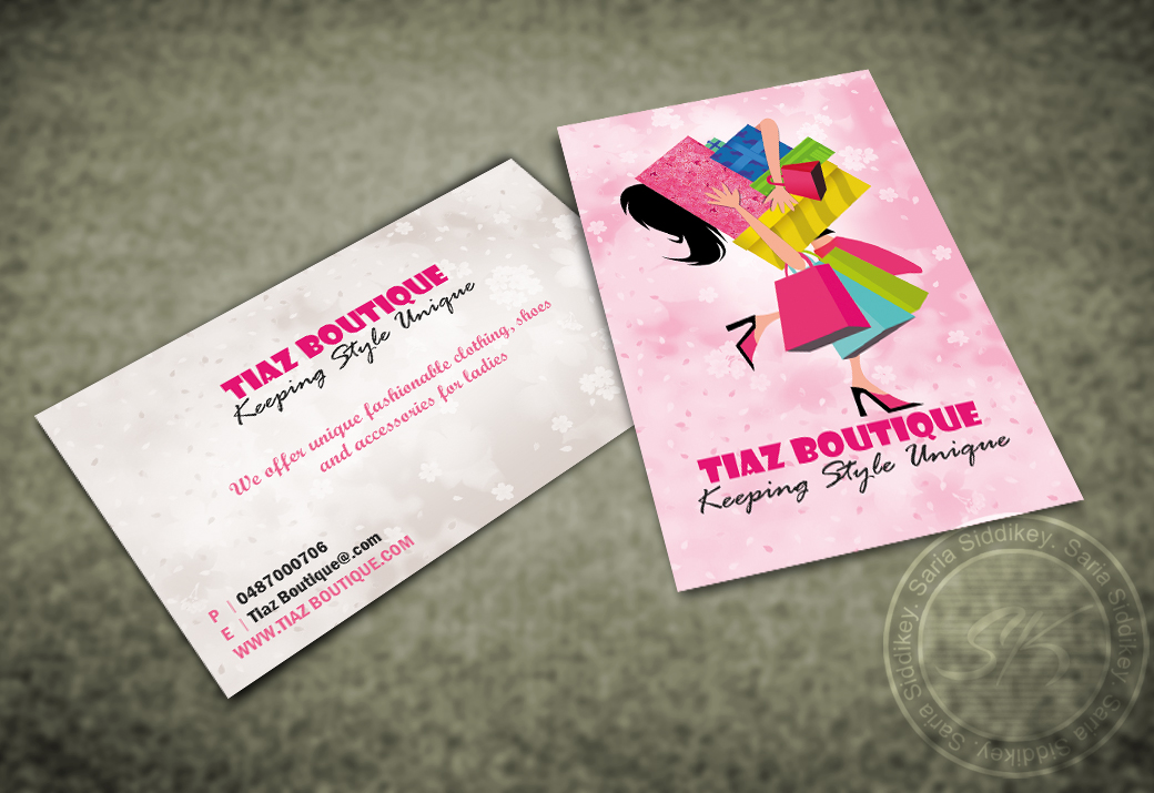 Boutique Business Card Design for Tiaz Boutique by Saria siddiqui ...