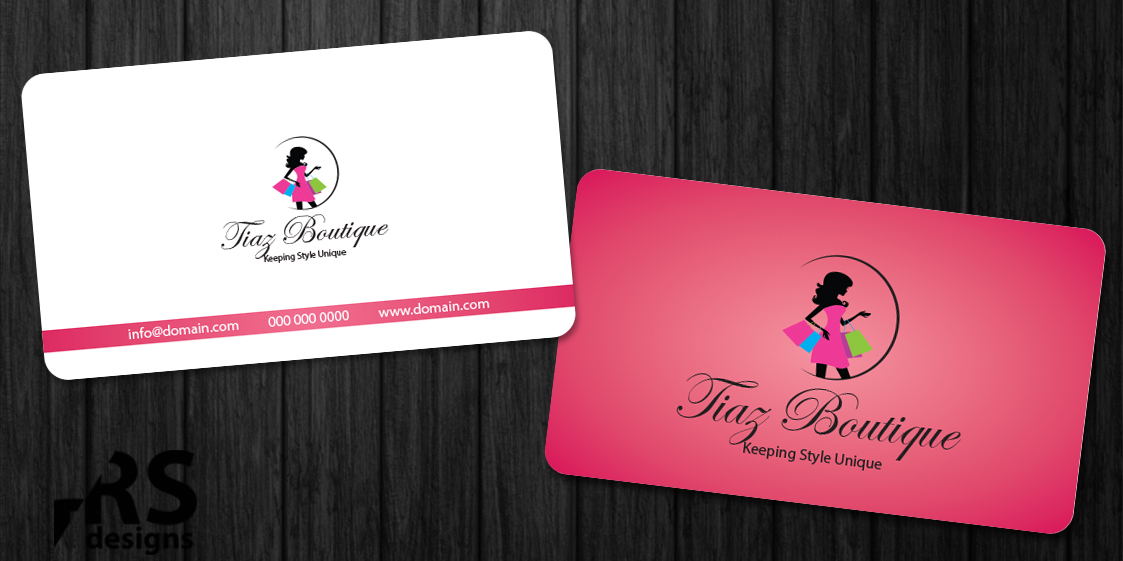 Business card design for tiaz boutique by rs designs for Business card for clothing boutique