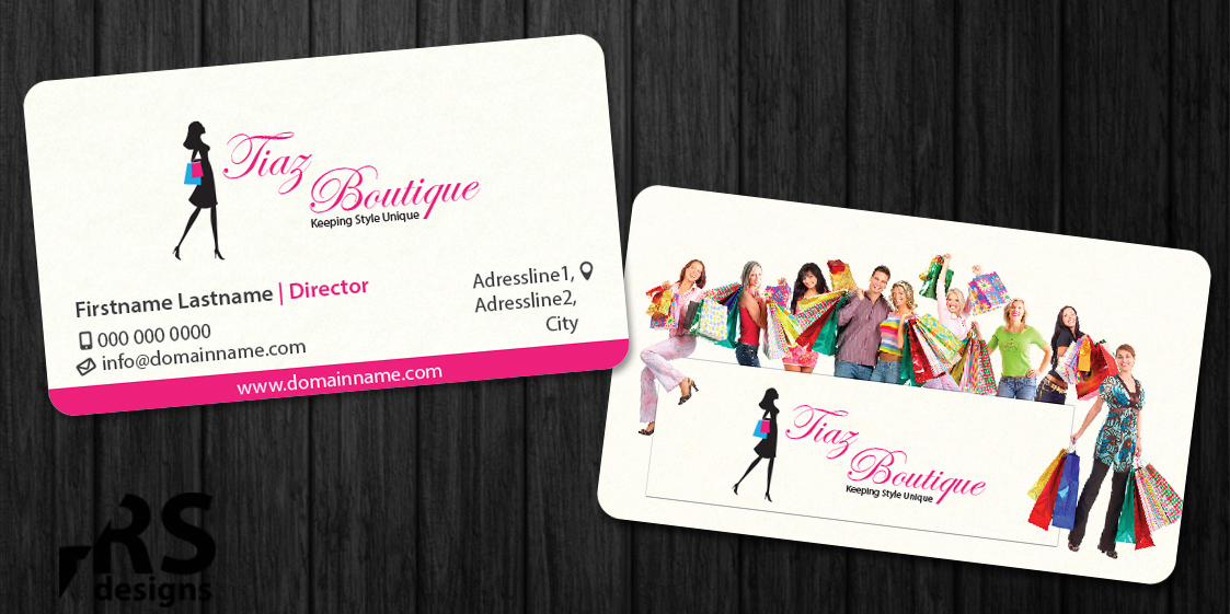 Boutique business card design for tiaz boutique by rs for Business card for clothing boutique
