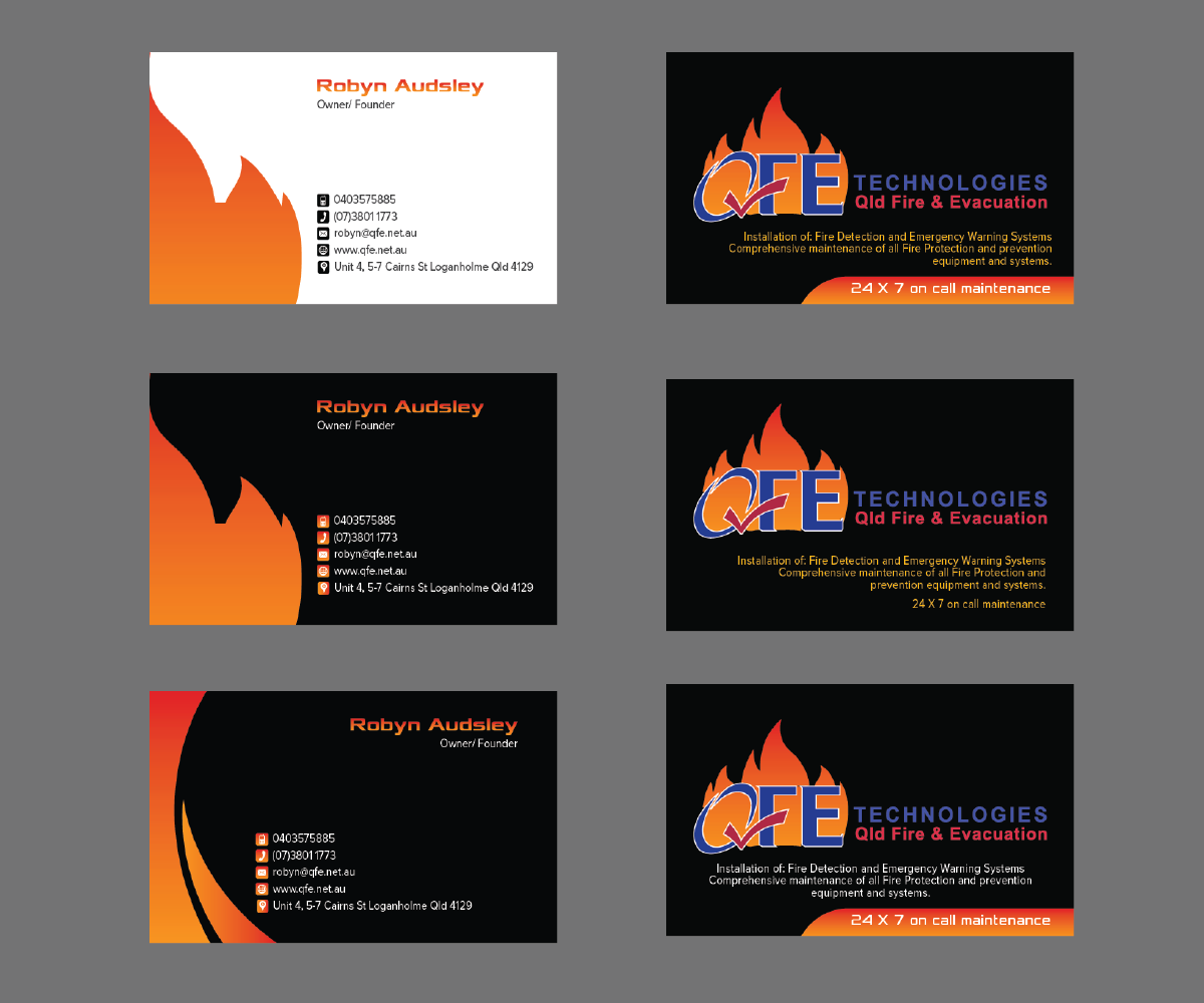 Bold, Serious, Business Business Card Design for QFE Technologies ...
