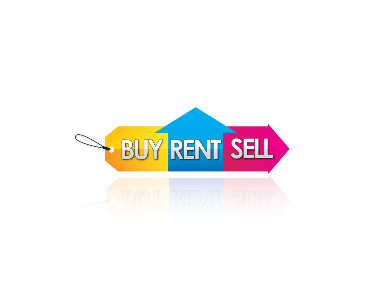 modern  colorful  property logo design for buy rent sell