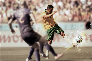 Photoshop Design by 9tnine -  Replace The Ball Tim Cahill Kicked To Score Hi...