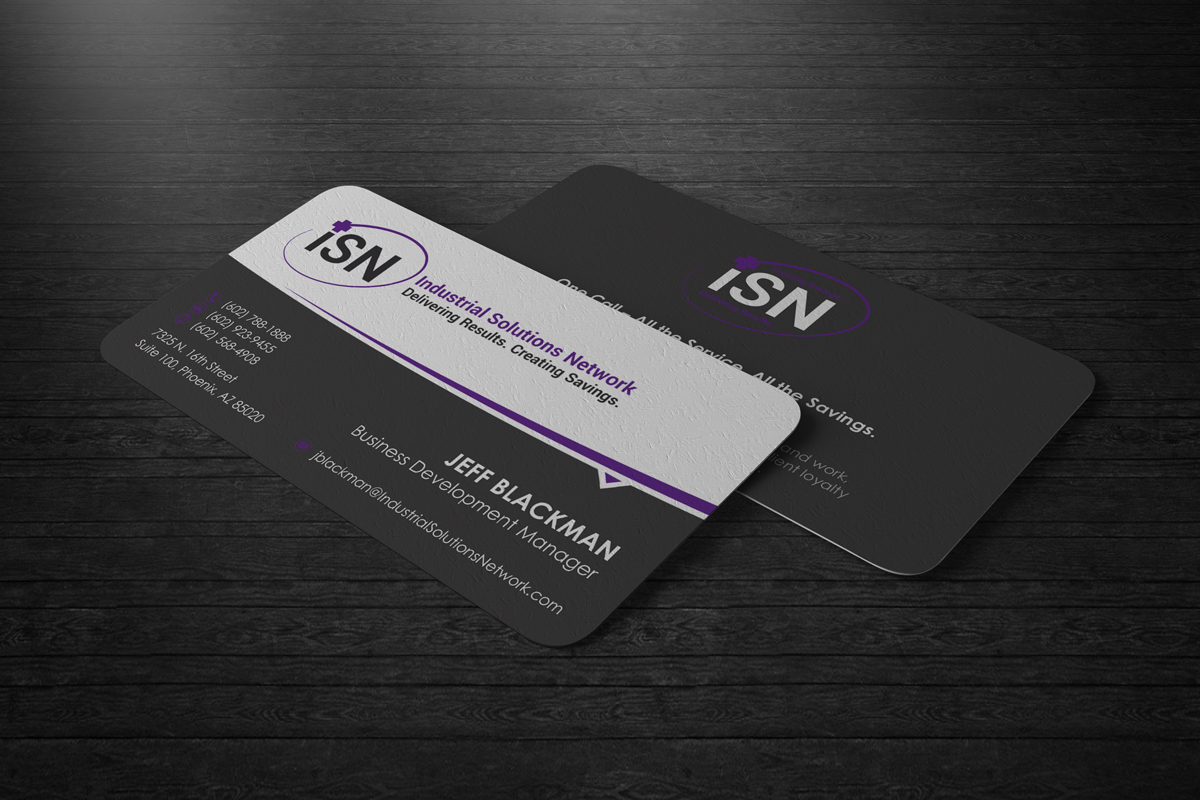 business card design for laurel stoimenoff by logodentity design business card design by logodentity for industrial solutions network business card redesign design 3959167