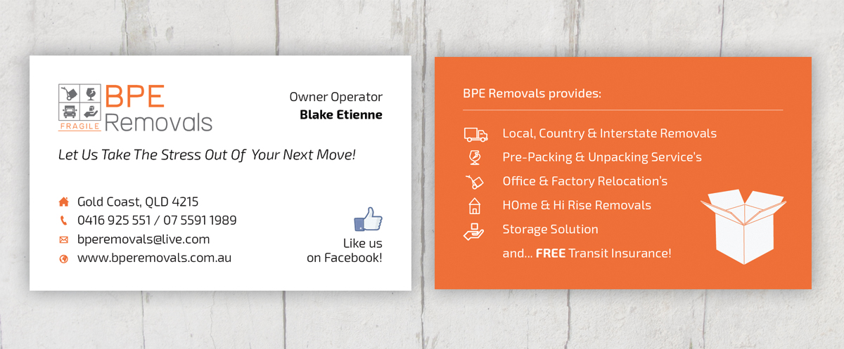 Business business card design for bpe removals by jonathanring business business card design for bpe removals in australia design 4010866 colourmoves