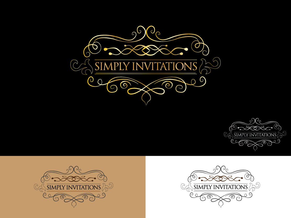 elegant traditional wedding logo design for simply invitations by