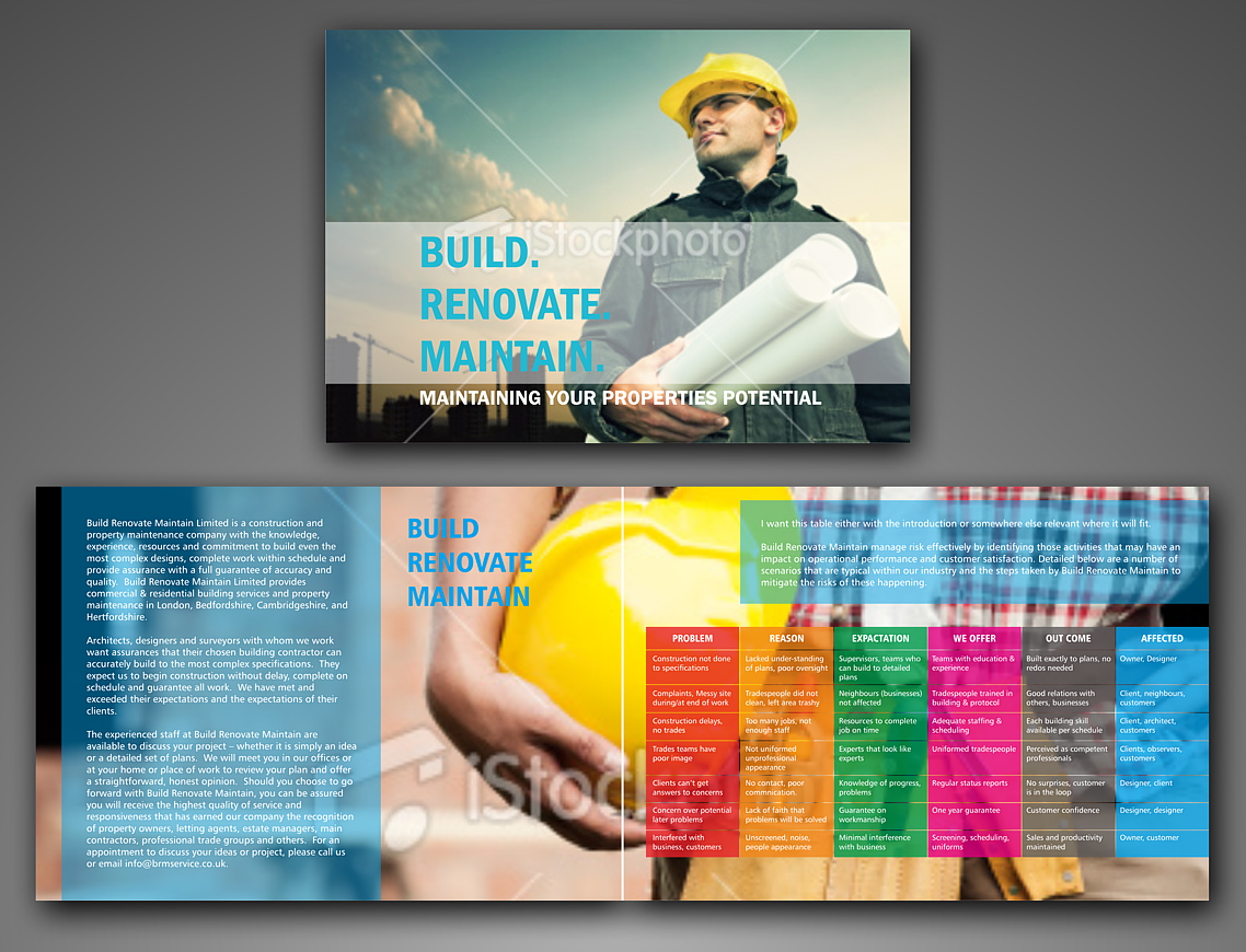 Bold, Serious Brochure Design for build renovate maintain limited ...