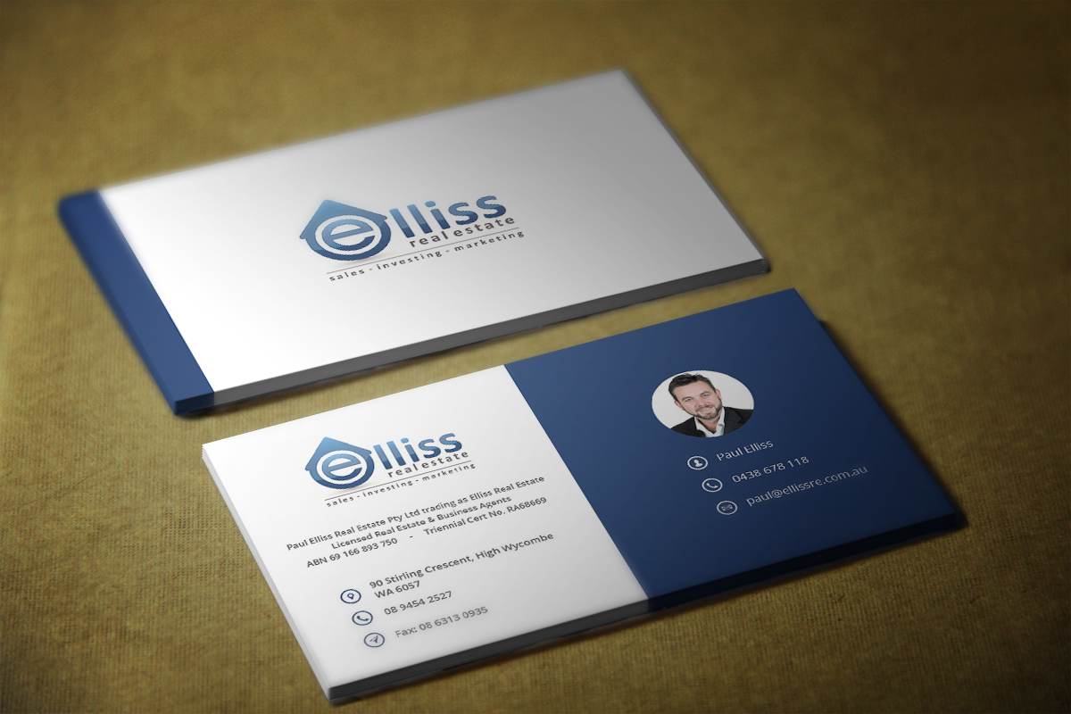 Bold masculine printing business card design for elliss real bold masculine printing business card design for elliss real estate in australia design 3990811 reheart Image collections