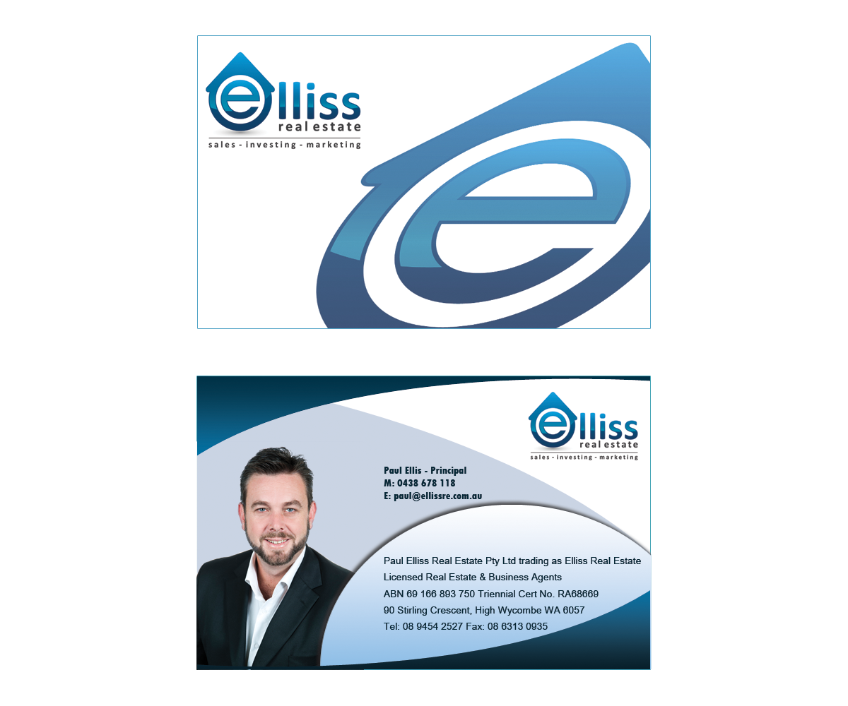 Bold masculine printing business card design for elliss real bold masculine printing business card design for elliss real estate in australia design 3972541 reheart Choice Image