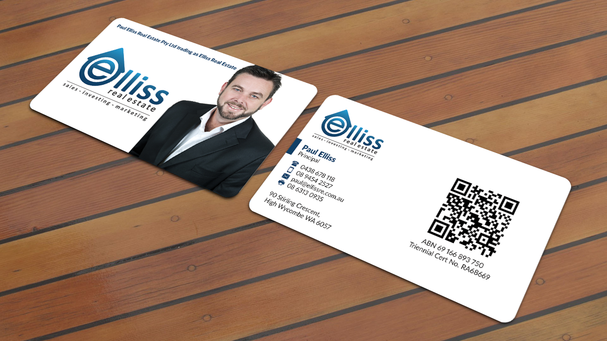 Bold masculine printing business card design for elliss real bold masculine printing business card design for elliss real estate in australia design 3991818 reheart Choice Image