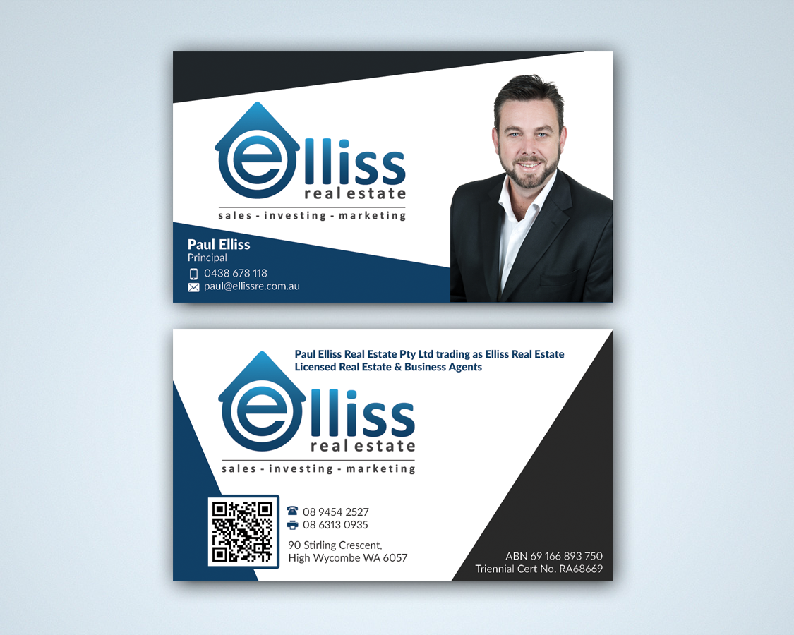 Bold masculine printing business card design for elliss real bold masculine printing business card design for elliss real estate in australia design 3991861 reheart Choice Image