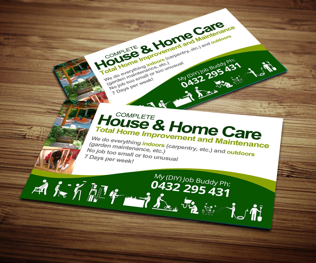 Home improvement business card design for a company by zeta design business card design by zeta for this project design 3994649 reheart Image collections