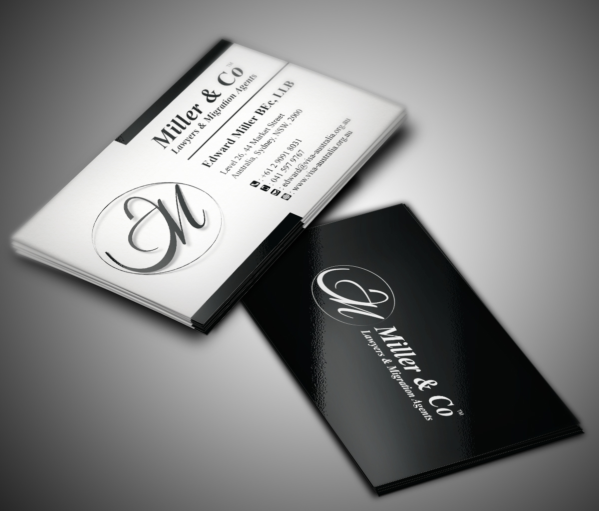 Bold, Personable Business Card Design for Miller& Co Lawyers ...