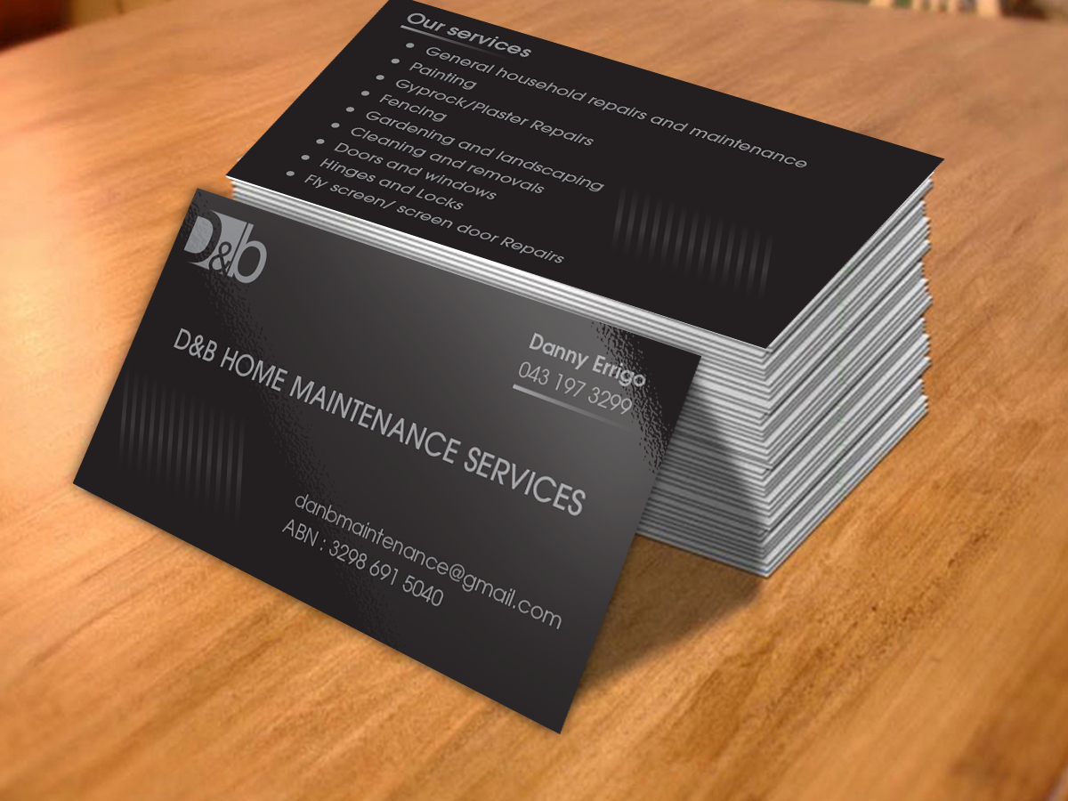 Modern professional business business card design for db home business card design by cn graphic for db home maintenance services design 3993044 reheart Gallery