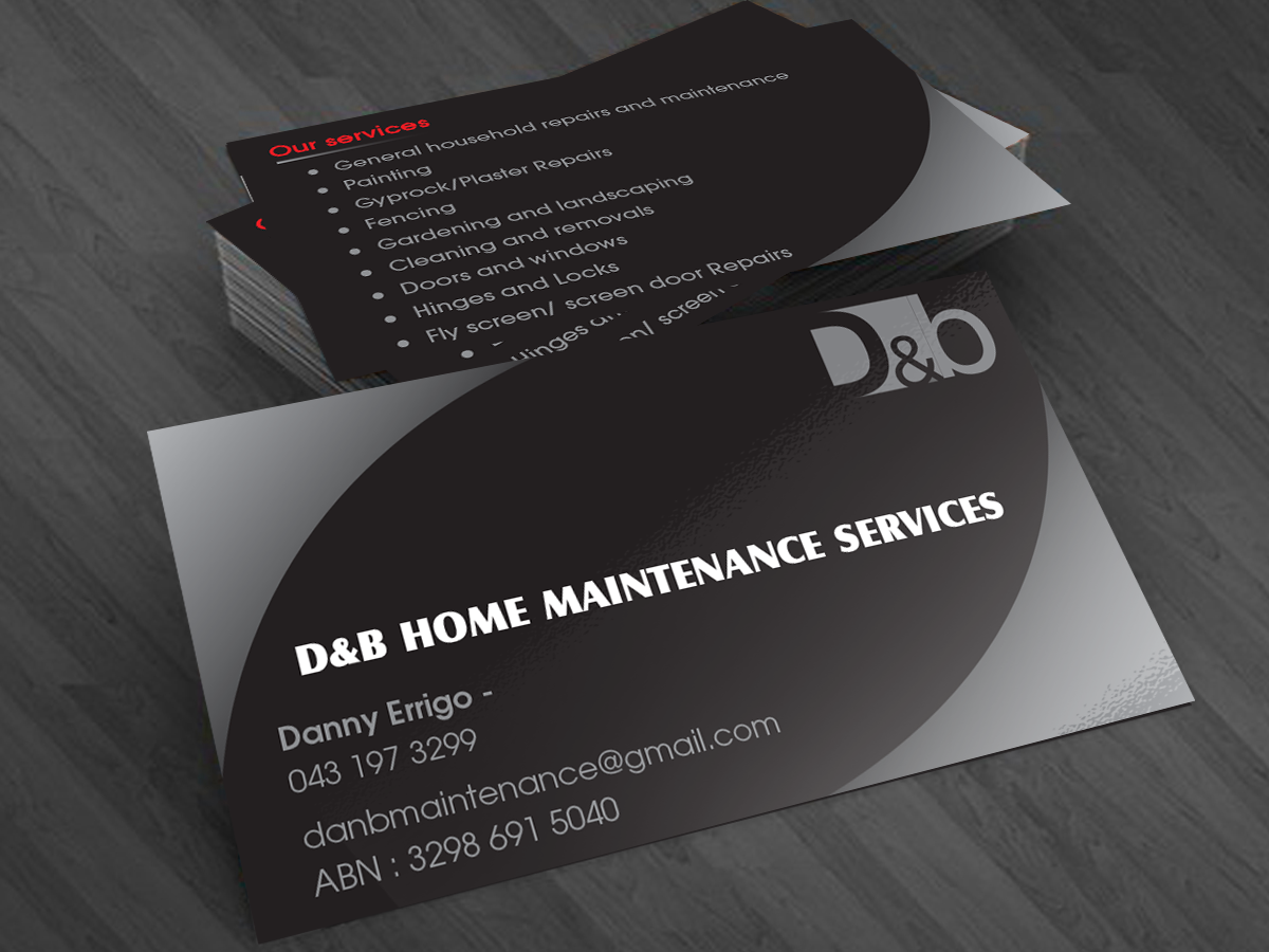Modern professional business card design for db home maintenance business card design by cn graphic for db home maintenance services design 3993049 magicingreecefo Image collections