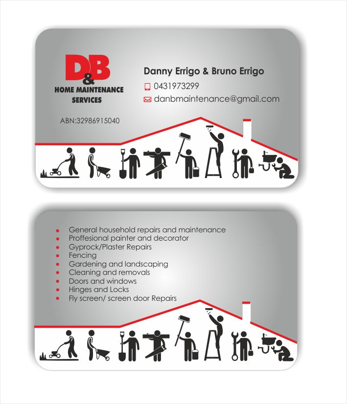 Modern professional business business card design for db home business card design by inesero for db home maintenance services design 4011143 reheart Choice Image