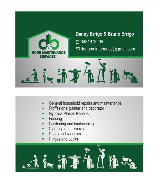 Modern professional business business card design for db home business card design by inesero for db home maintenance services design 4011299 reheart Choice Image