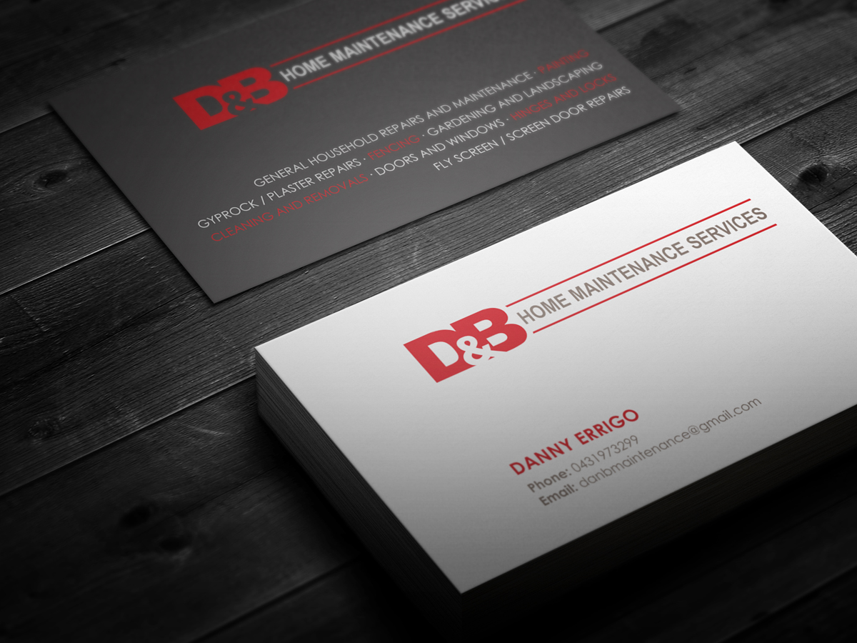 Modern professional business business card design for db home business card design by logodentity for db home maintenance services design 3991107 reheart