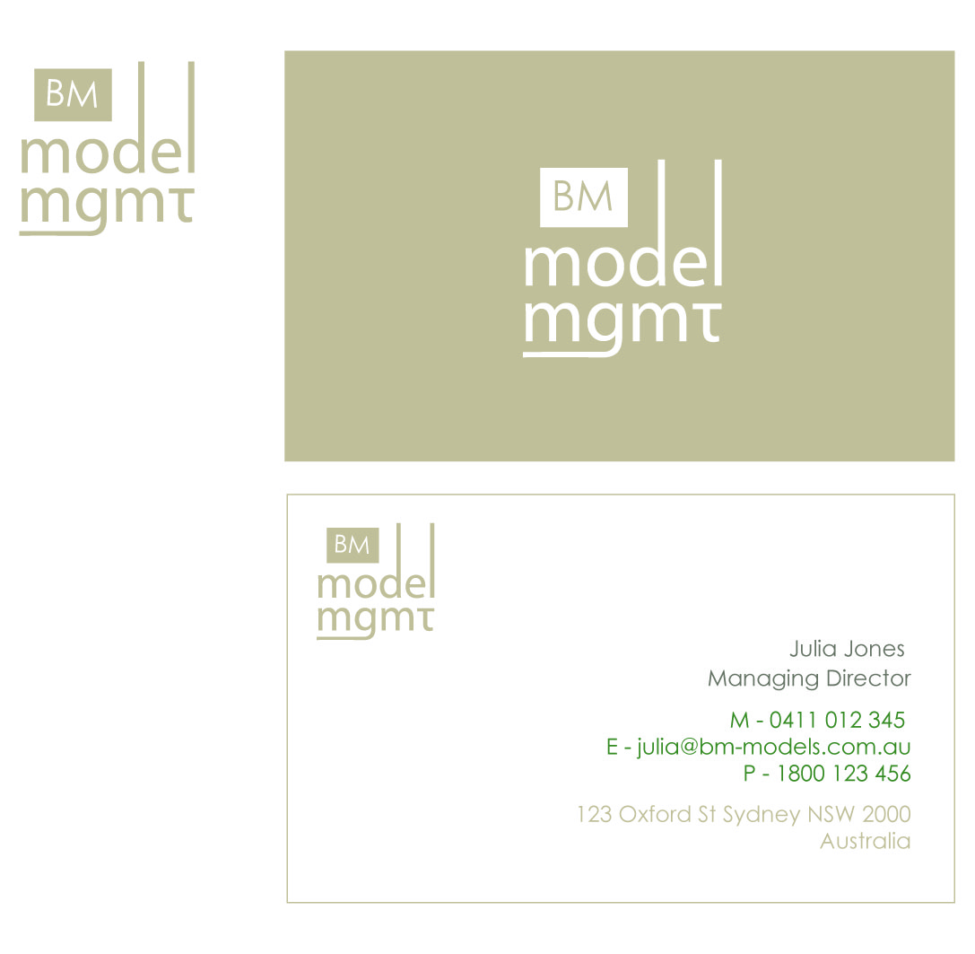 Management business card design for bm model management by logo business card design by logo design guru for bm model management design 3733 reheart Choice Image