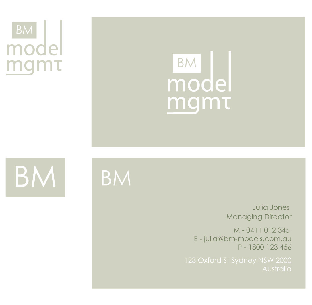 Management business card design for bm model management by logo business card design by logo design guru for bm model management design 3734 reheart Choice Image