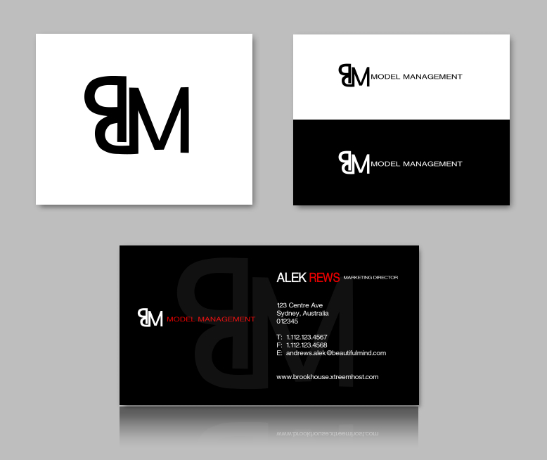 Business Card Design for BM Model Management by Delete Account ...
