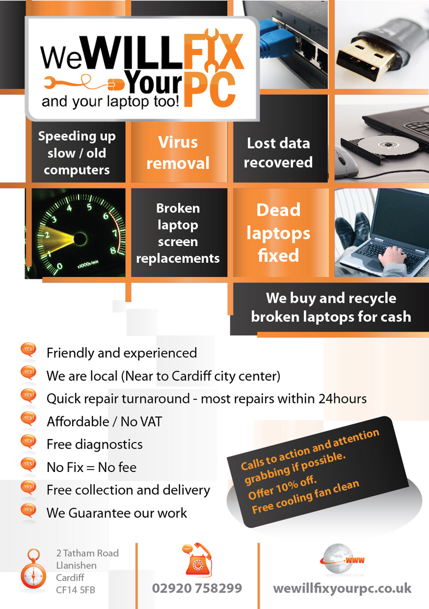 bold modern accommodation flyer design for we will fix your pc by