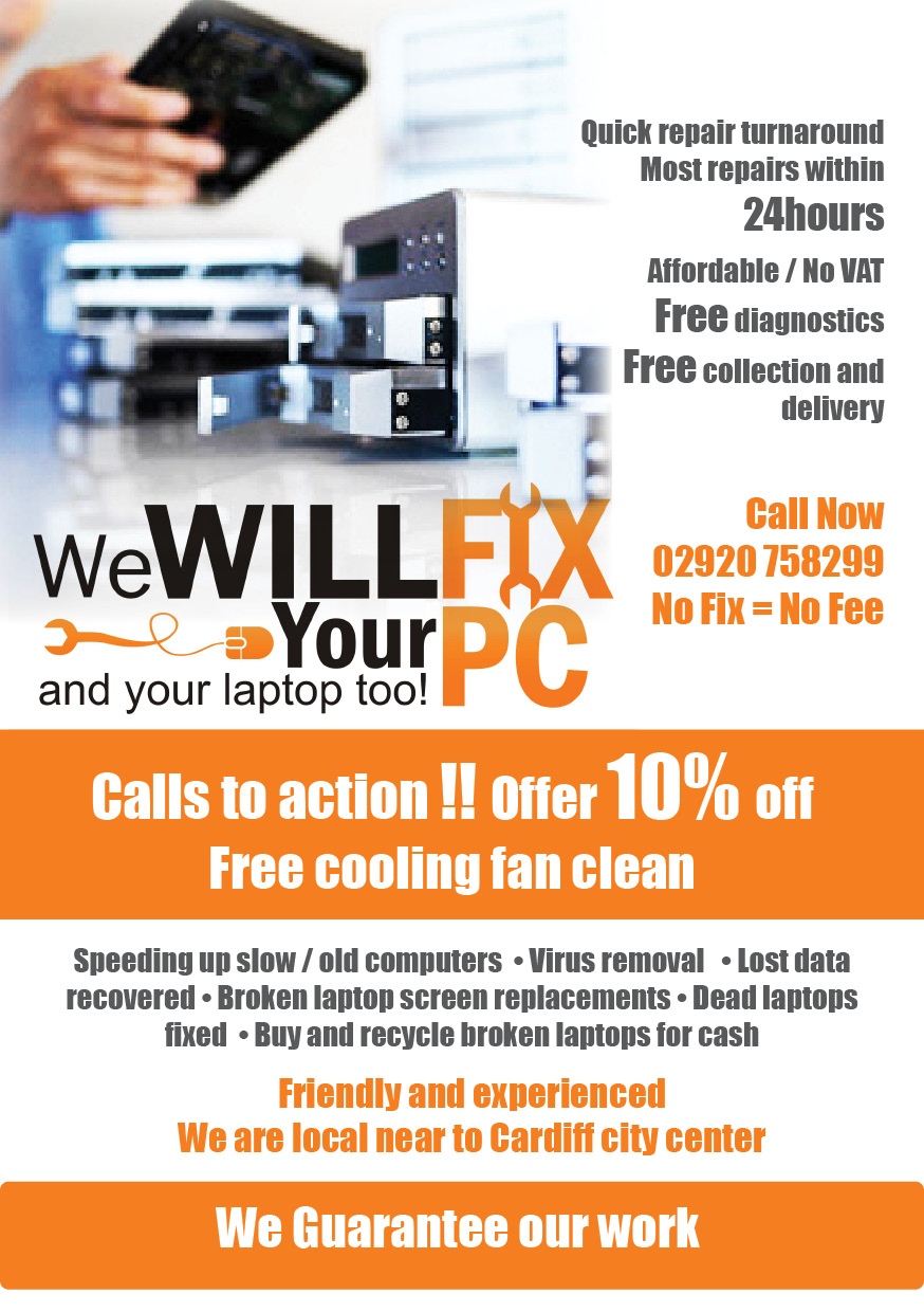 bold modern accommodation flyer design for we will fix your pc in united kingdom design 1196259