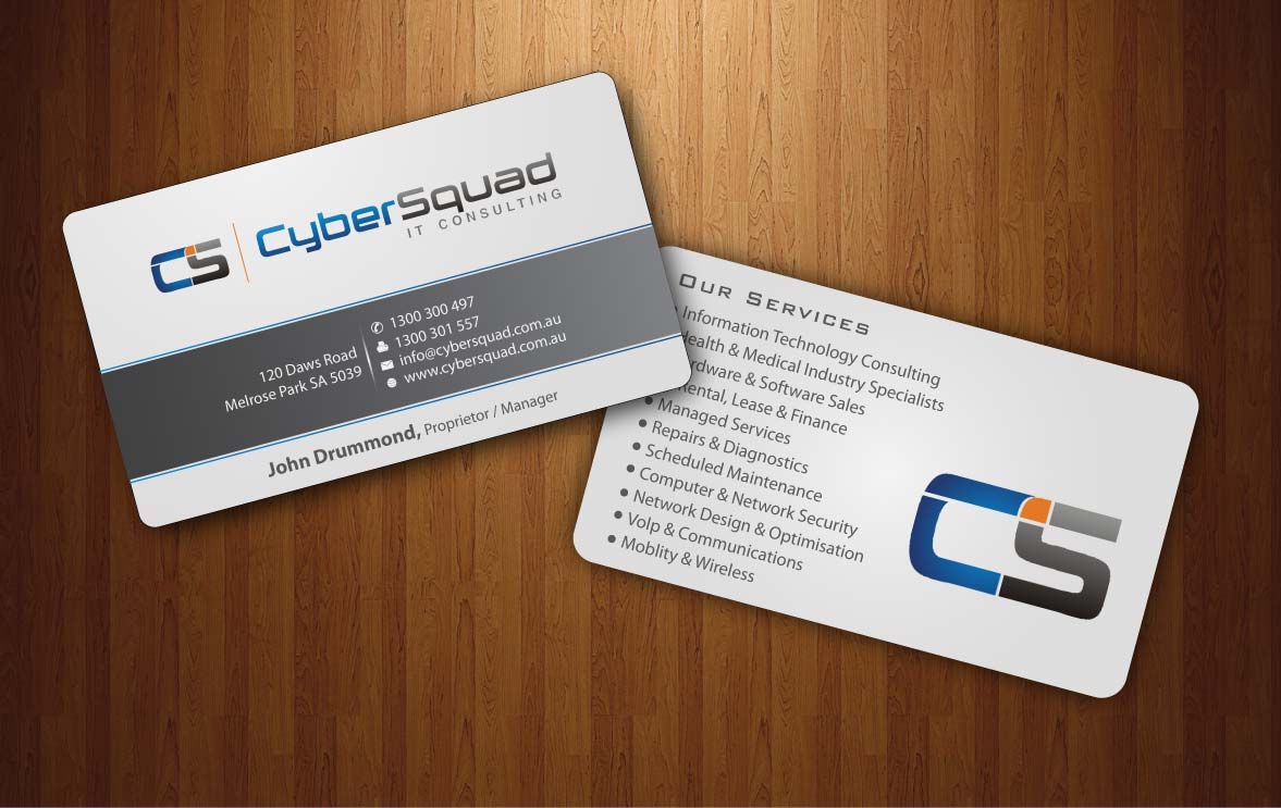 Modern, Bold Business Card Design for CyberSquad IT Consulting by ...