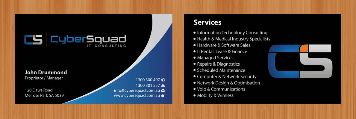 Business Card Design By Sbss For CyberSquad IT Consulting