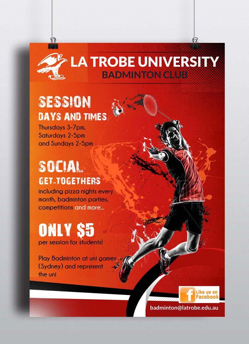 University Poster Design for La Trobe University Badminton Club by ESolz  Technologies   Design #4092247