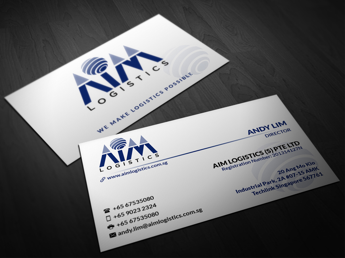 Freight forwarding business card design for aim logistics s pte business card design by pointless pixels india for aim logistics s pte ltd reheart Images