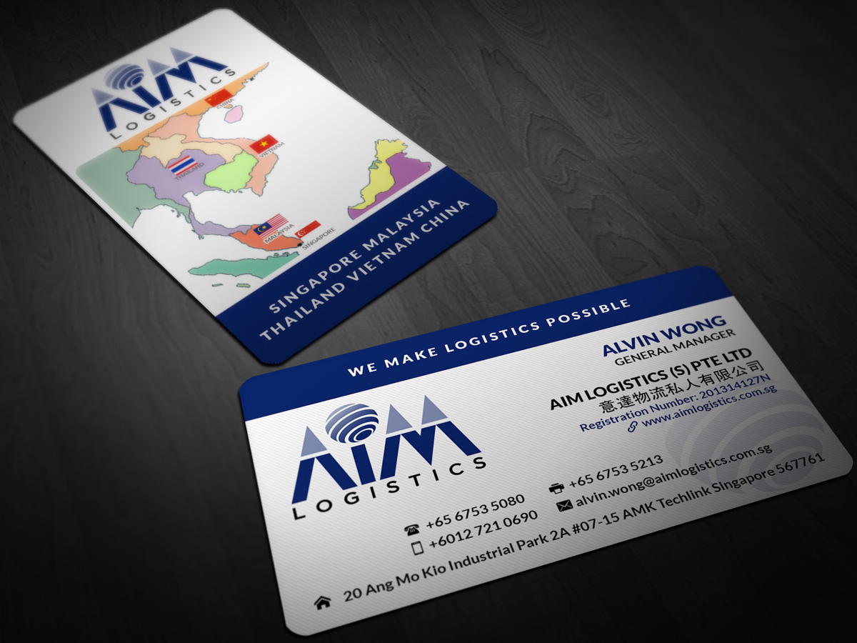 Business Card Design for AIM Logistics (S) Pte Ltd by Pointless ...