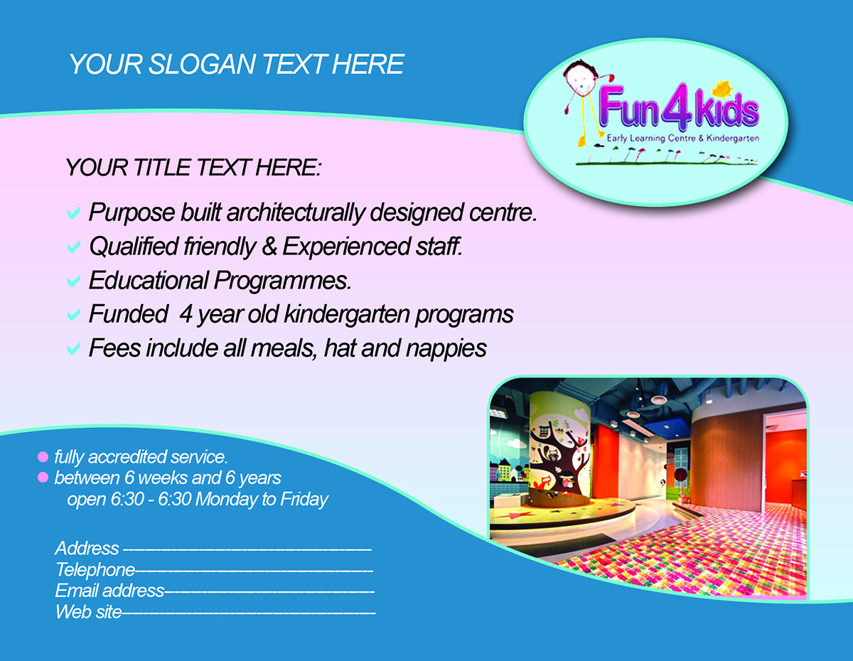 professional childcare flyer designs for a childcare business in flyer design design 4112010 submitted to child care centre fyler closed