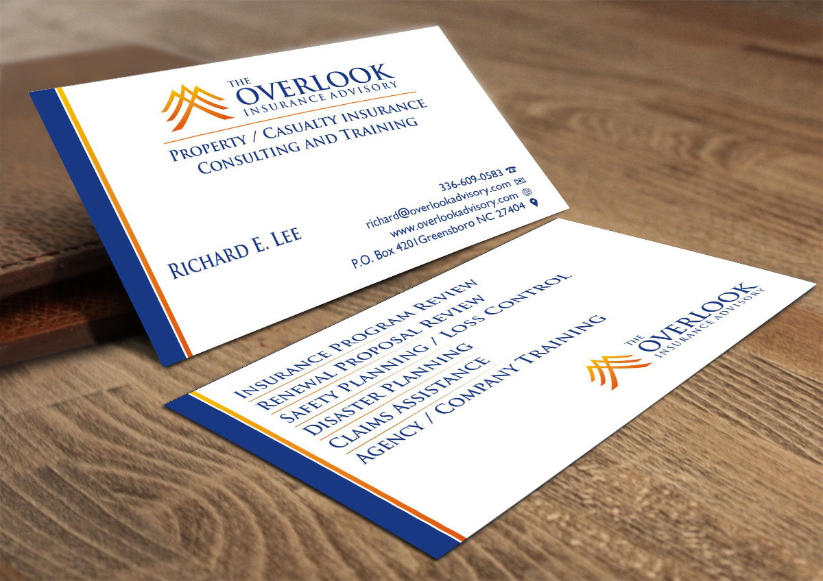 Modern professional insurance business card design for the business card design by poonam gupta for the overlook insurance advisory design 4159660 reheart Image collections
