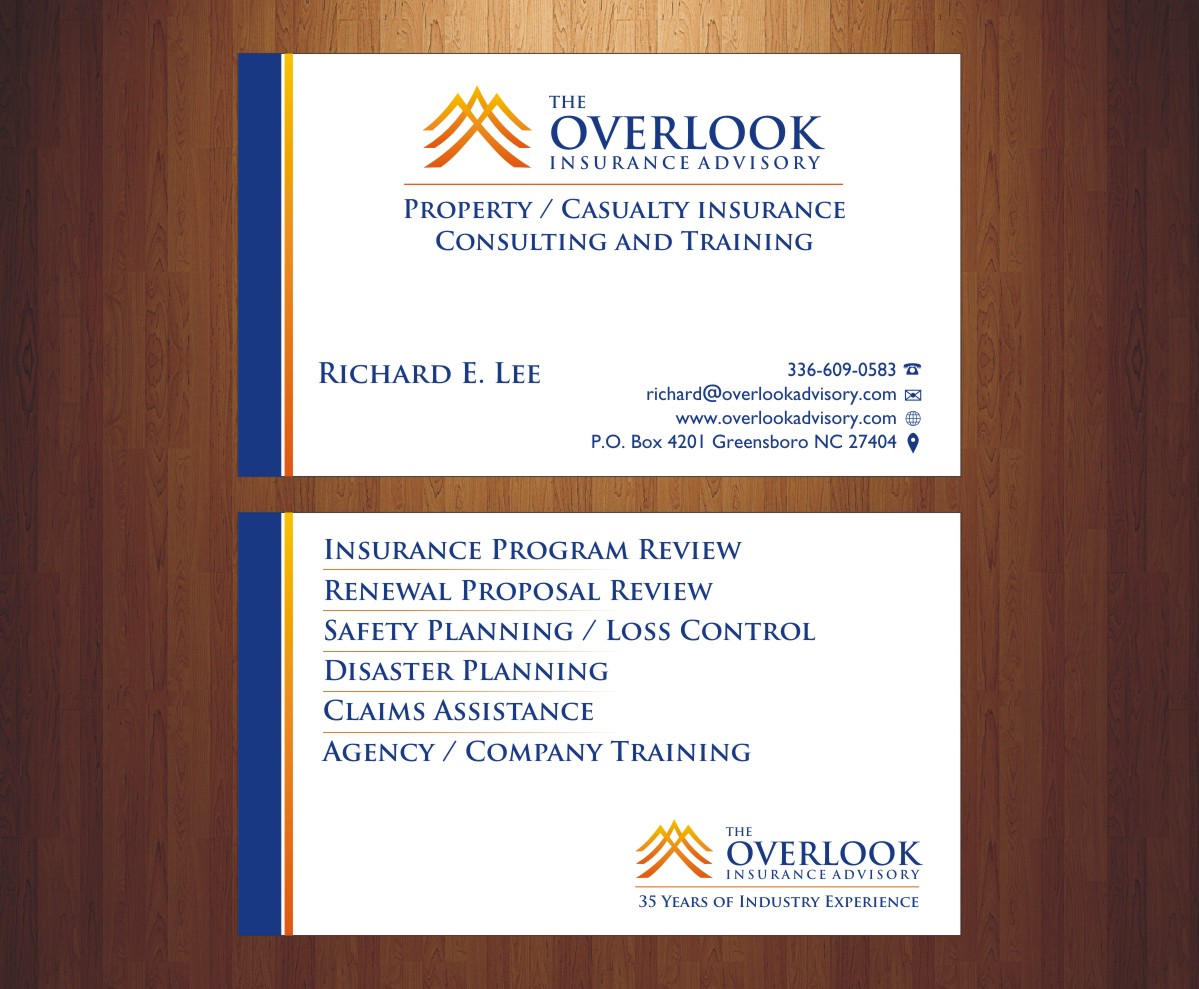 Modern professional insurance business card design for the business card design by poonam gupta for the overlook insurance advisory design 4179852 colourmoves