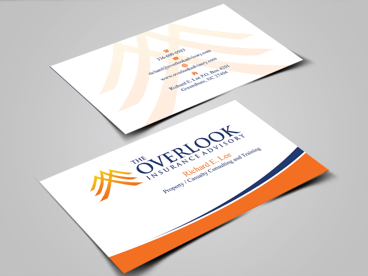 Modern professional insurance business card design for the business card design by shaikhdesign for the overlook insurance advisory design 4150176 reheart Image collections