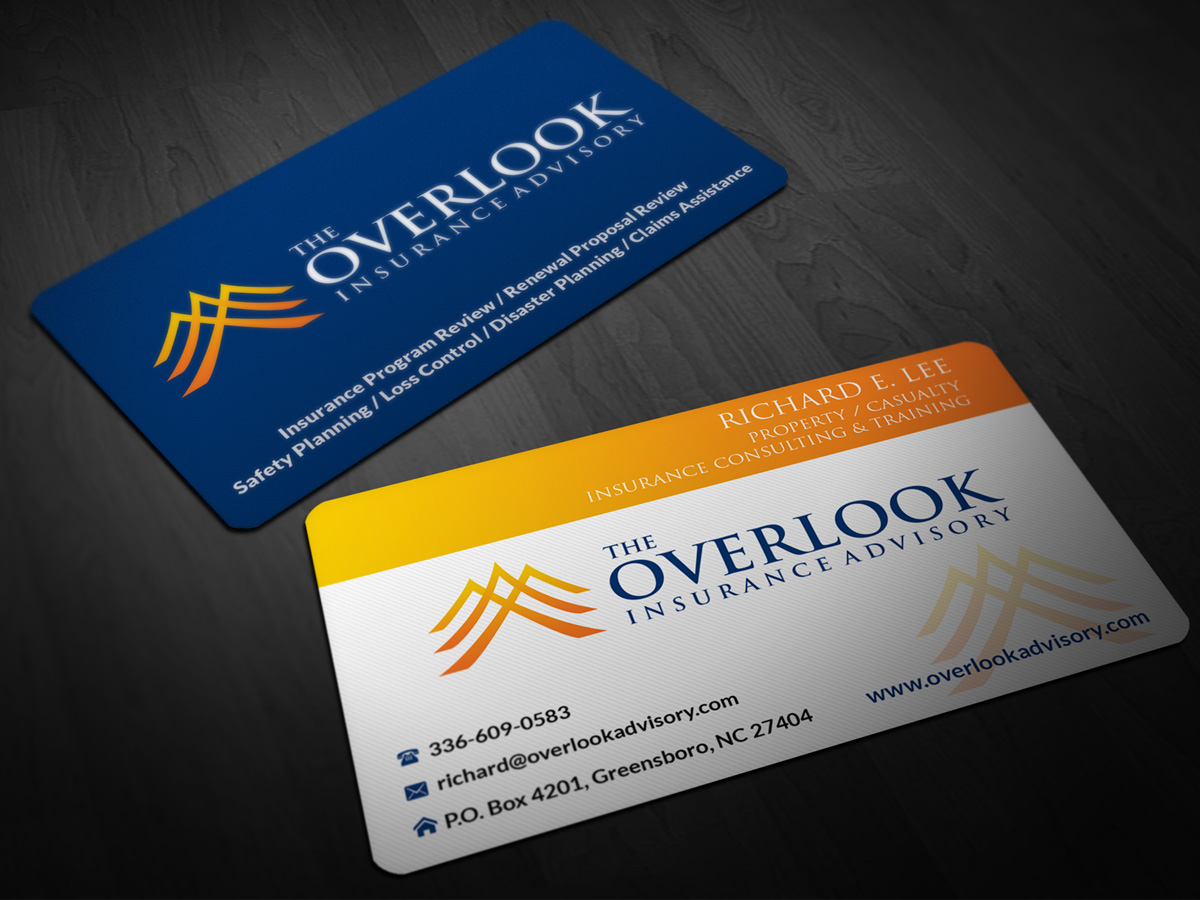 Modern professional insurance business card design for the business card design by pointless pixels india for the overlook insurance advisory design 4144447 reheart Image collections
