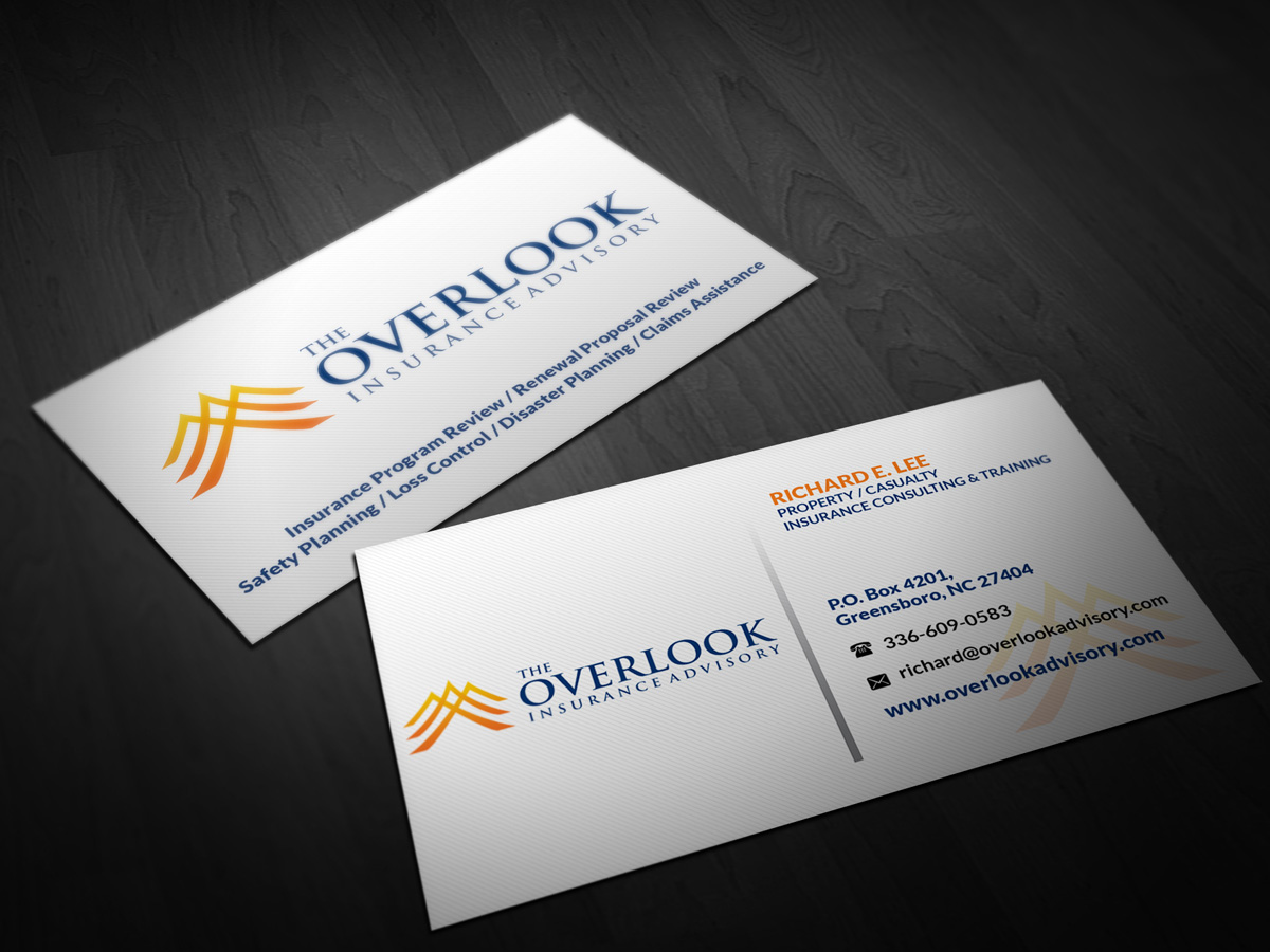 Modern professional insurance business card design for the business card design by pointless pixels india for the overlook insurance advisory design 4144558 reheart Image collections