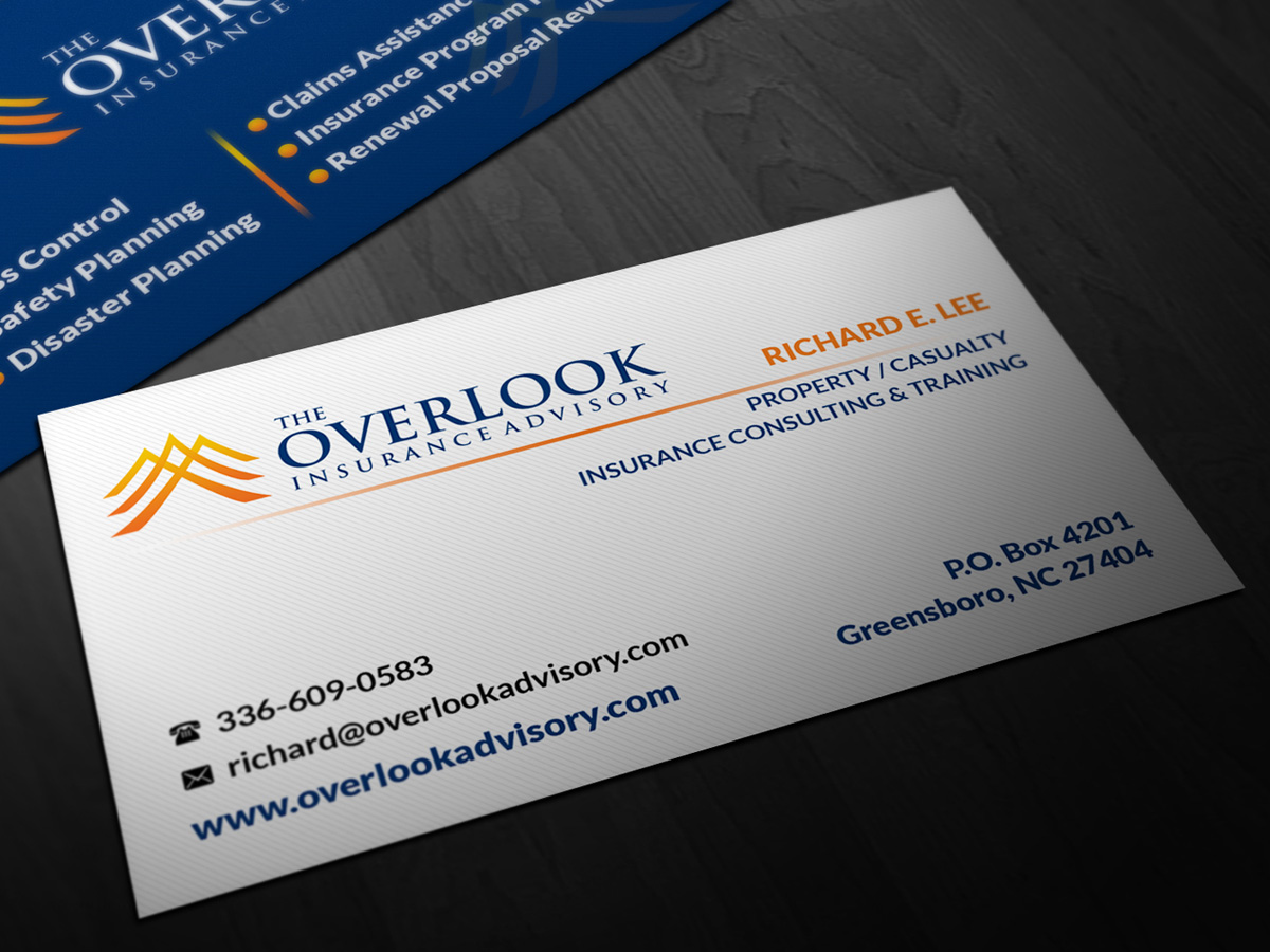 Modern professional insurance business card design for the business card design by pointless pixels india for the overlook insurance advisory design 4153347 reheart Image collections