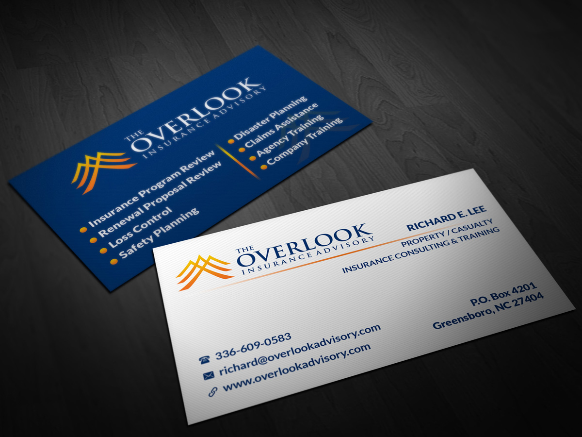 Modern professional business card design for the overlook insurance business card design by pointless pixels india for the overlook insurance advisory design 4159849 reheart Image collections