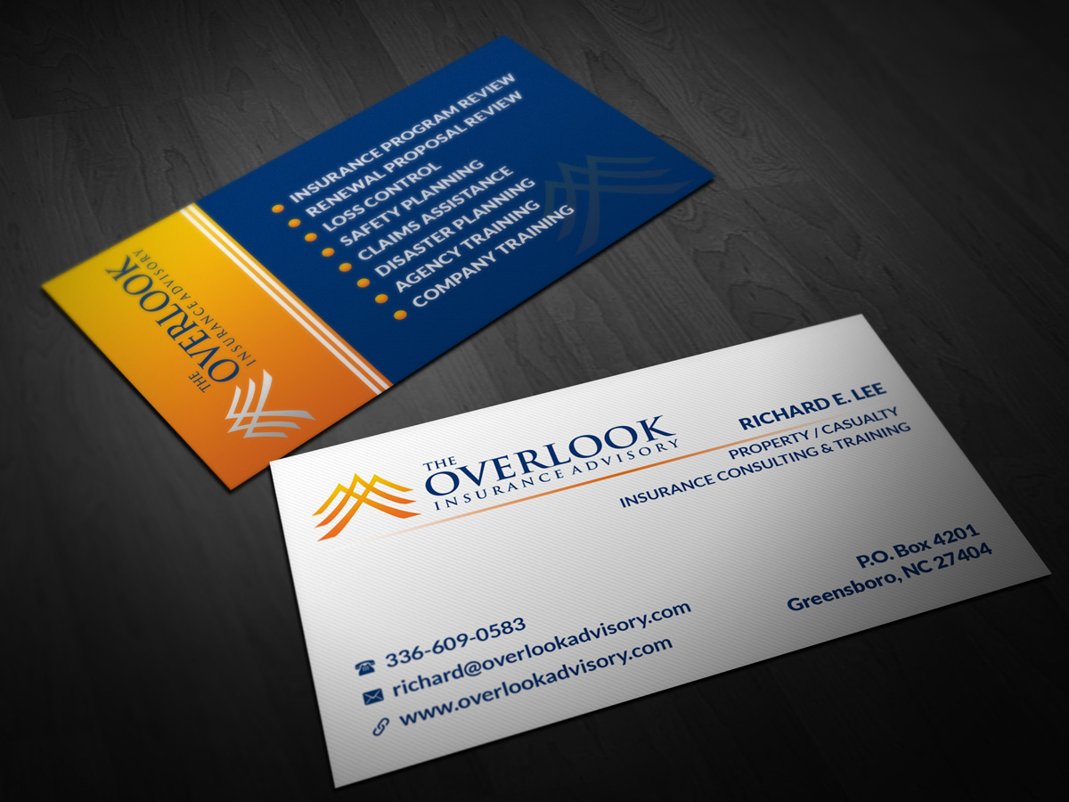 Modern professional insurance business card design for the business card design by pointless pixels india for the overlook insurance advisory design 4160190 reheart Images