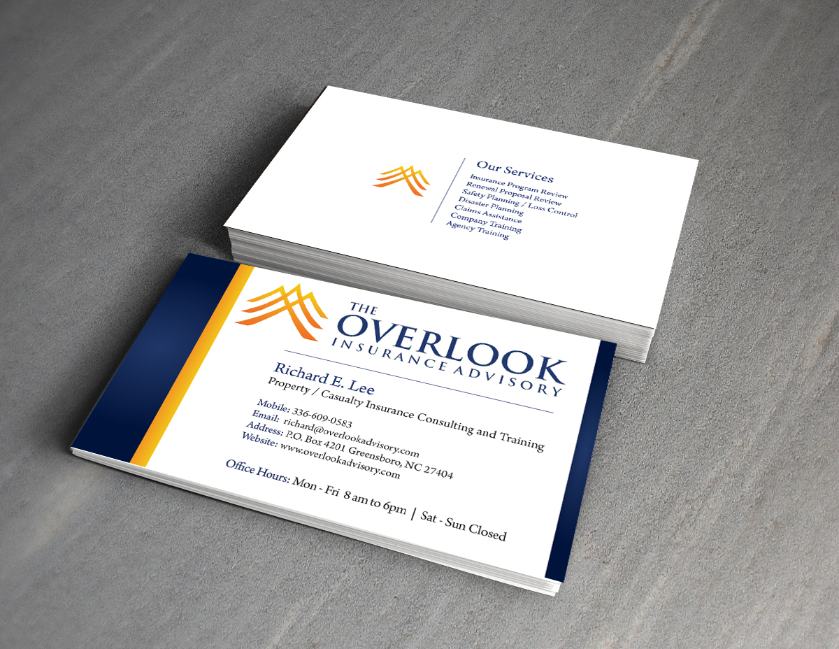 Modern professional insurance business card design for the business card design by callie beatrice 2013 for the overlook insurance advisory design 4179968 reheart Image collections