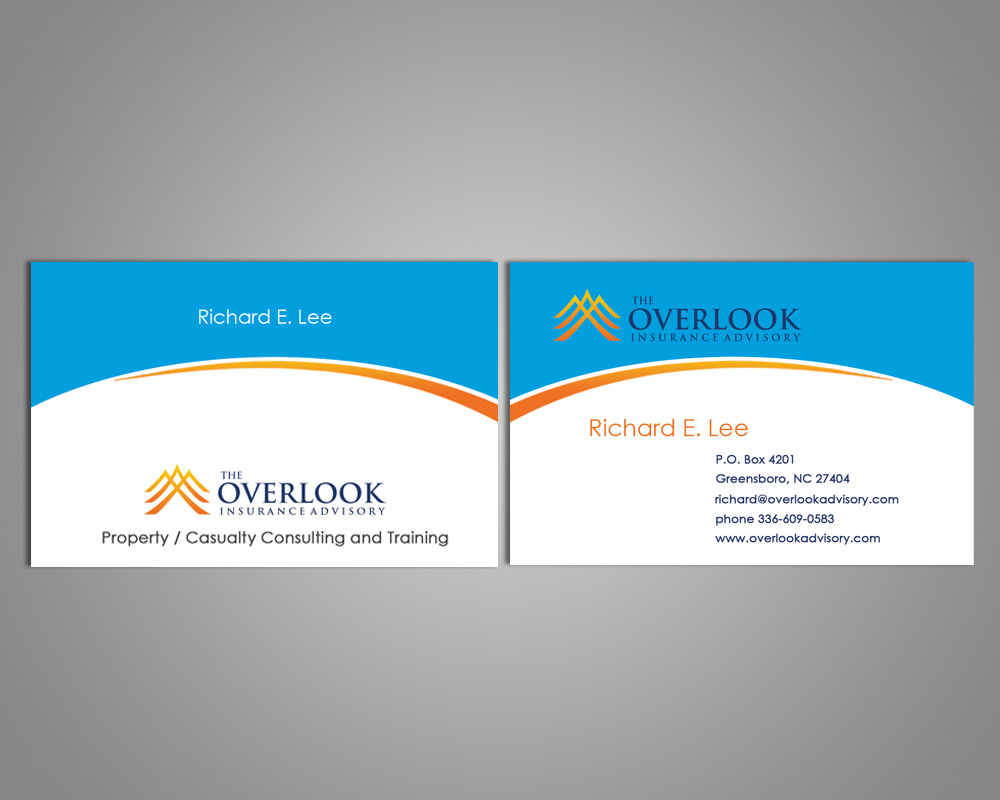 Modern professional insurance business card design for the business card design by farani for the overlook insurance advisory design 4154527 reheart Image collections