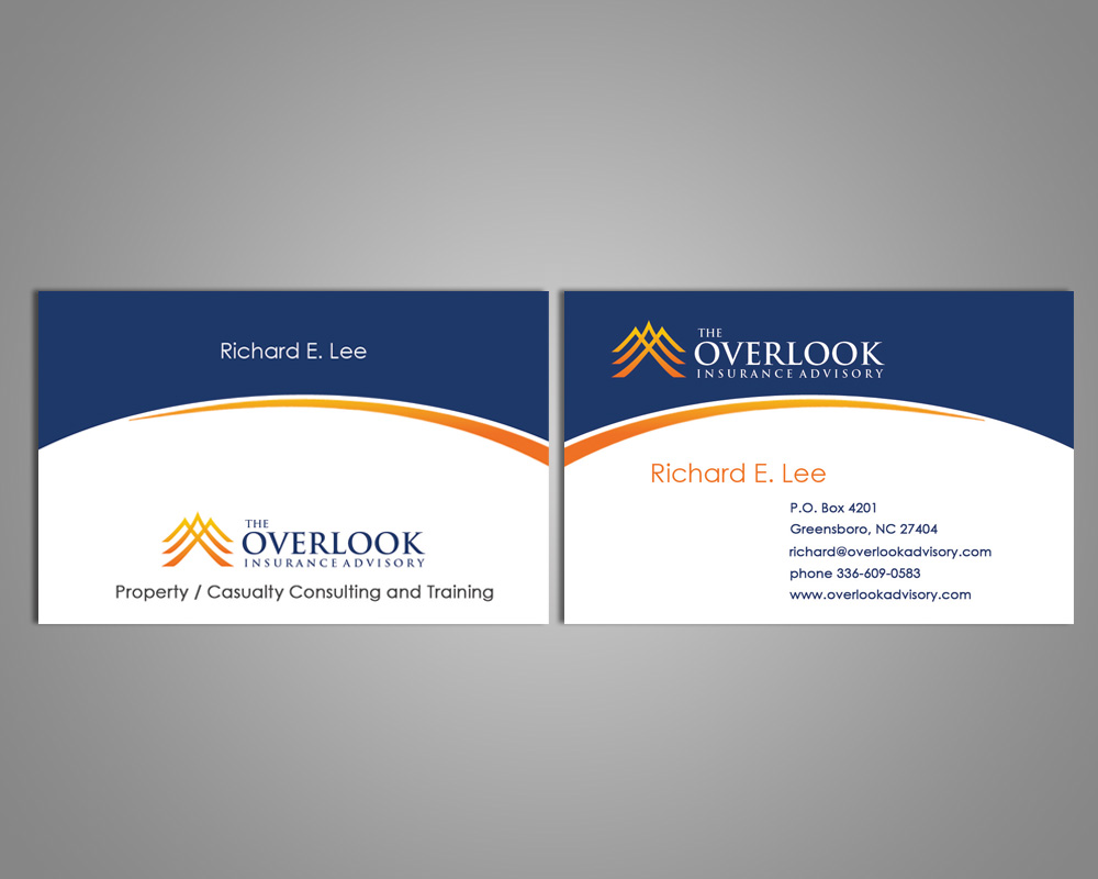 Modern professional insurance business card design for the business card design by farani for the overlook insurance advisory design 4154538 reheart Image collections