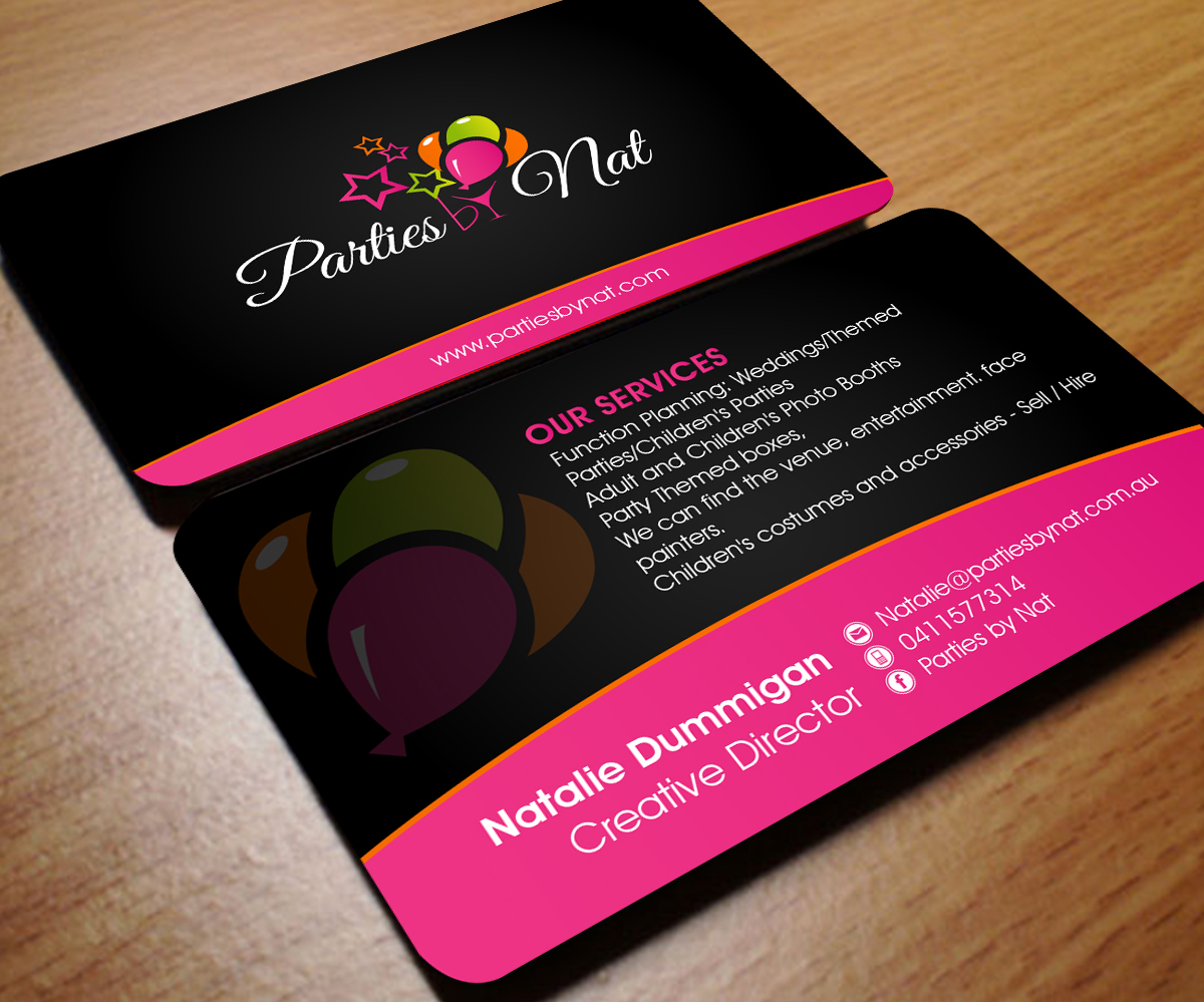 party planning business card design for a company by aaron