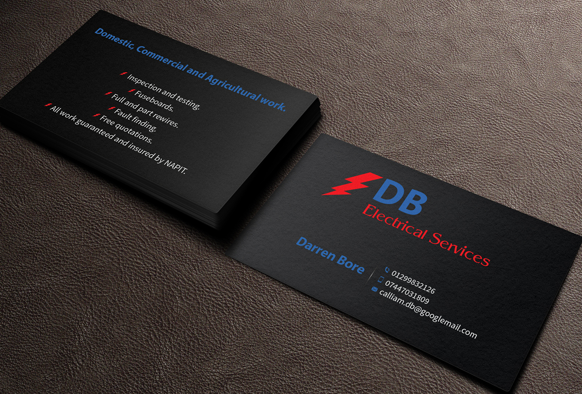Business Card Design By MediaProductionArt For DB ELECTRICAL SERVICES