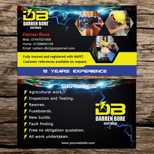 Business Card Design 4160198 Submitted To DB ELECTRICAL SERVICES Closed