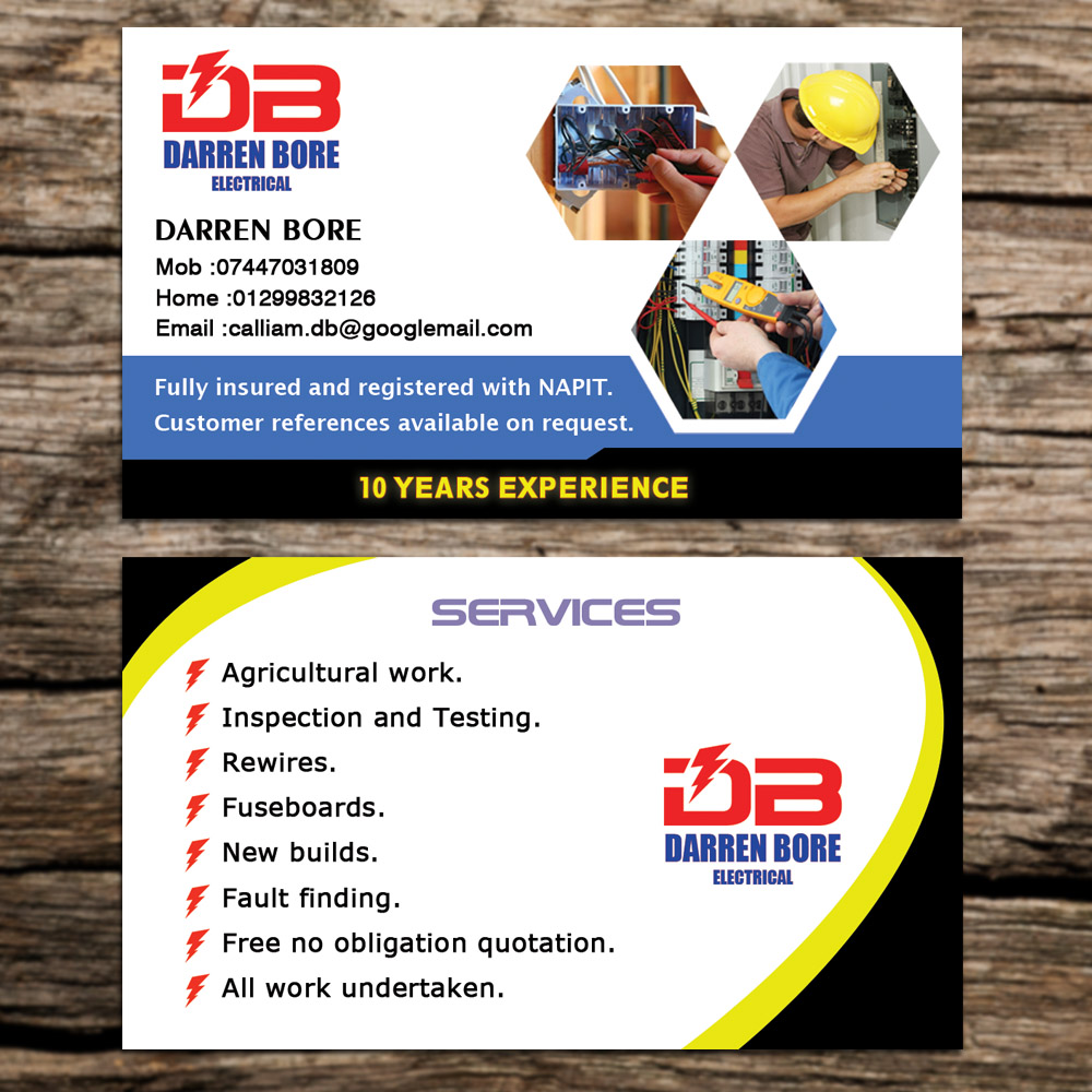 Business Card Design By Sandaruwan For DB ELECTRICAL SERVICES